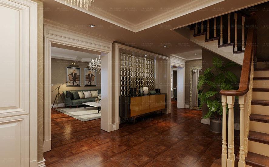 在楼梯处采用玻璃隔断既不影响采光也起到了分割空间的作用.